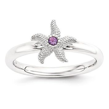 Sterling Silver Stackable Expressions Amethyst Starfish Ring