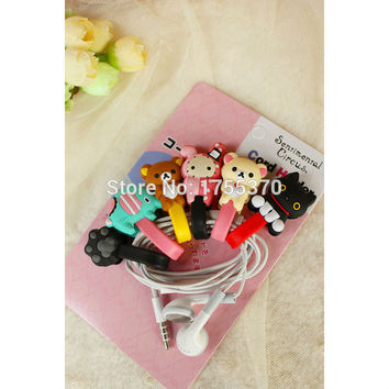 Cute Cartoon Animal Silicone Wrap Cable Wire Tidy Earphone Winder Organizer Toy Finger Action