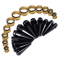 BodyJ4You Gauges Kit Black Taper Steel Gold Tunnel Plug 00G-20mm Stretching Set 24 Pieces