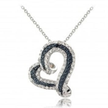 Sterling Silver 1/8ct TDW Blue & White Diamond Floating Heart Necklace