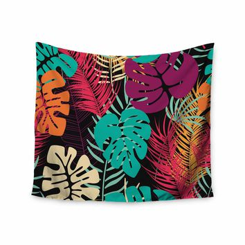 """Bluelela """"Tropical Night Pattern"""" Teal Magenta Nature Pattern Vector Illustration Wall Tapestry"""