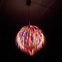 Coloured Paper Round Hanging Light Shade - Lollipop Colours