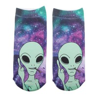 Women Fashion Cool Alien Pattern Sport Socks