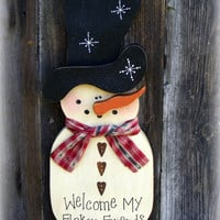 Snowman Wall Hanging  Door Hanger