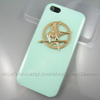 IPhone 5 Case,The Hunger Games Golden Logo Mockingjay Jelly Mint Green iphone 5 Hard Case