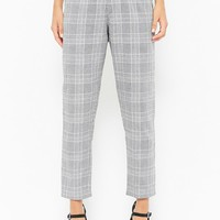 Glen Plaid High-Waist Trousers