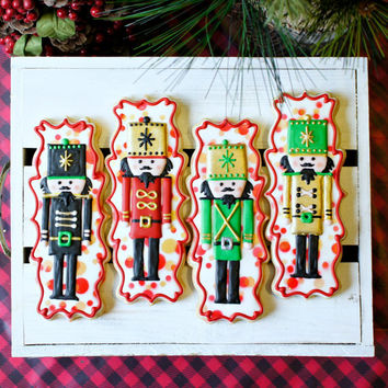 Large Nutcracker Artisan Sugar Cookies - 4 6-inch cookies intricately hand- decorated