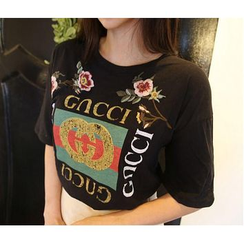 Flower Print Gucci Short Sleeve Black T Shirt