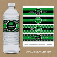 Water Bottle Label Graduation 2017 - Printable Kelly Green and Black Water Bottle Stickers - Custom Colors - DIY Graduation Labels G1