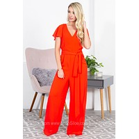 Double Back Tie Flutter Bright Jumpsuit