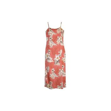 Petal Pink Long Hawaiian Skinny Strap Floral Dress
