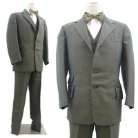 Vintage 50s 60s Suit Men's Sharkskin Teal & Gold 3 Piece Mohair Mod Mad Men