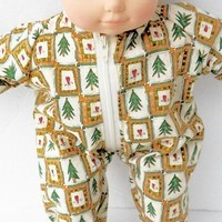 "Bitty Baby Clothes, fits 15"" girl or boy doll, HANDMADE, Christmas Pajamas, new"