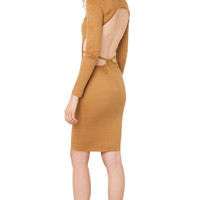 Turtleneck Suede Dress - Camel