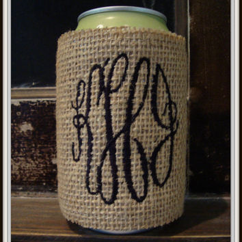 Burlap Koozie with Monogram