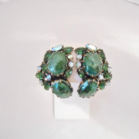 Green Glass & Rhinestone Large Vintage Clip Back Earrings High End