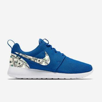 Custom Blue 100's Dollar bills Nike Roshe Run Shoes Fabric Pattern Men's Birthday Pres