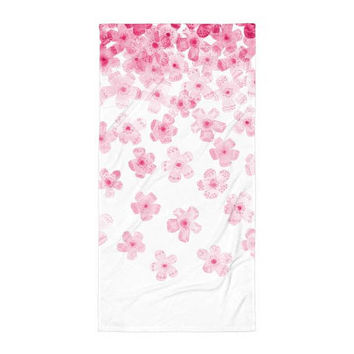 Cascading Blossoms Beach Blanket - Watercolor Flowers Beach Towel - Pink and White Beach Towel