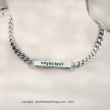 BDSM Collar Engraved 4-Sided BAR Necklace or Choker Male Female Dom, Sub, Master, Mistress, Slave with Stainless Steel Chain Lockable or Not