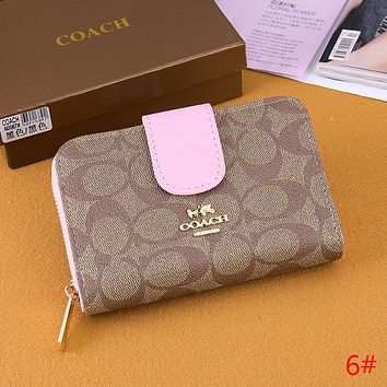 Coach Trending Women Stylish Leather Buckle Zipper Wallet Purse 6# I-OM-NBPF