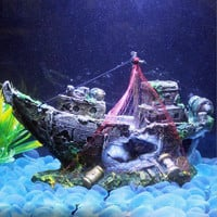 M2cbridge Aquarium Fish Tank Shipwreck Decoration Pirate Treasure Ship Fishing Net