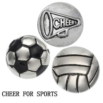 Legenstar Cheer For Sports Snap Button Jewelry 18mm Foot Ball /Volleyball Charm Snap Button fit DIY Jewelry Making for Spinner
