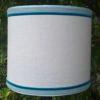 Linen Lampshade Drum Light Blue Teal Velvet Handmade Moss Green Trim Brass Finial Top Blue Grosgrain Ribbon Designer Custom Elegant Classic