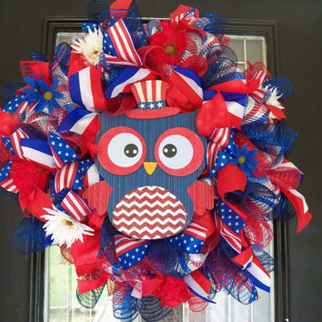 July 4th Wreath, Deco Mesh Wreath, Owl Decoration, Front Door Wreath, Patriotic Wreath, Wreaths