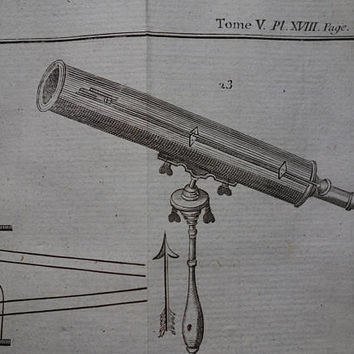 "TELESCOPE antique print 1771 original old French science print about Stargazer Telescopes illustration pictures 7x8"" prints"