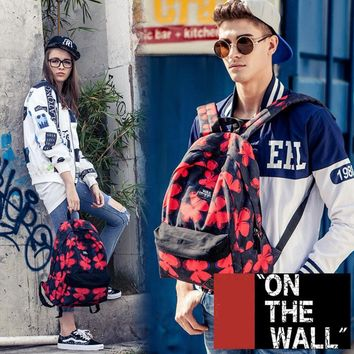 VansFashion Personality printing large capacity backpack bag leisure travel boom blue and red flowers 7 style