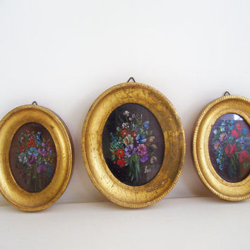 Vintage Small Oval Italian Florentine Gold Framed Floral Paintings