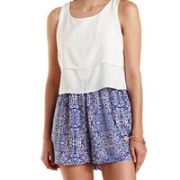 Blue Combo Layered Print Block Romper by Charlotte Russe