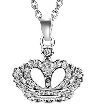 Fashion Rose Crown Pendant Necklace For women