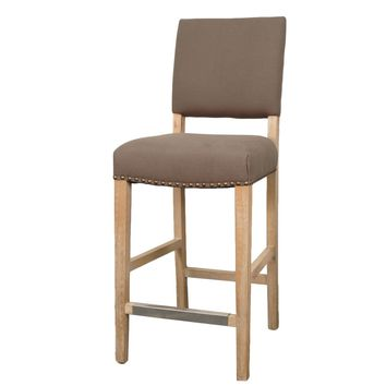 Arthur Fabric Counter Stool Brushed Smoke Legs, Café Mocha