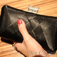 Free shipping black bridal hand bags,wedding clutch,white evening purse,evening bags,white bridmaid purse,prom clutch