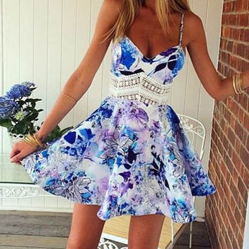 Floral Print Spaghetti Strap Mini Dress with Lace Detail