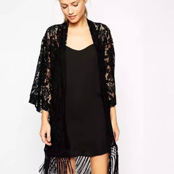 Women's Fashion Leaf Lace See Through Tassels Jacket [4919032452]