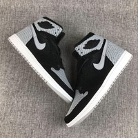 Best Deal Online Nike Air Jordan Retro 1 High Flyknit Shadow Black/Medium Grey-White 919704-003 Men Sneakers