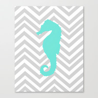 Chevron Seahorse Stretched Canvas by Sunkissed Laughter