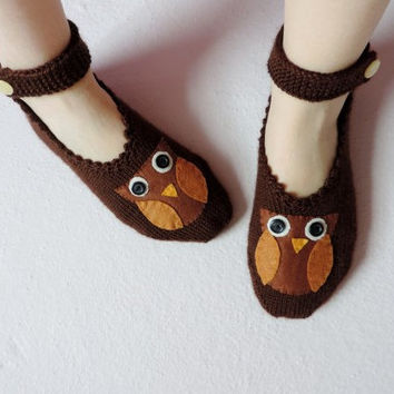 Woman Slippers Brown, Hand Knit Turkish Slippers, Turkish Socks, Owl Knitted Slippers
