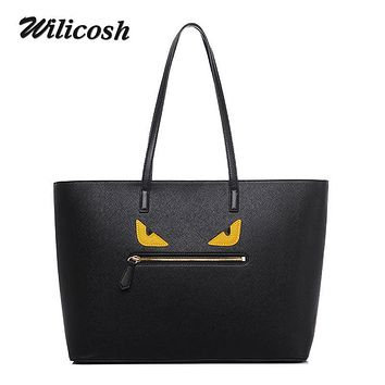 Wilicosh 2017 New Shopping Bag Ladies Monster Design Women Leather Handbags Large Capcity Women's Shoulder Hand Bags Tote WL337