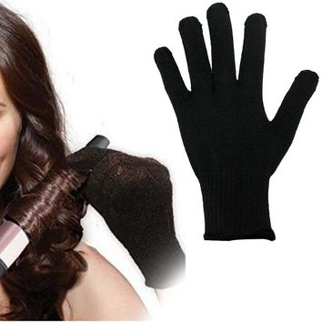 1 Pc Professional Heat Resistant Glove Hair Styling Tool For Curling Straight Flat Iron Black Styling Accessory