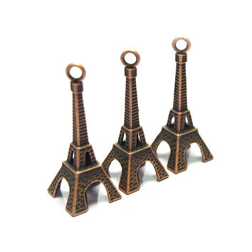 Miniature Eiffel Tower Charm, 1-1/2-inch, Brown, 20-Piece