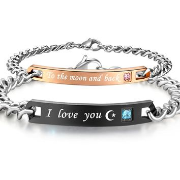 His & Hers Matching Set Stainless Steel I Love You to the Moon and Back Couple Bracelet in a Gift Box