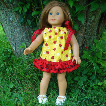 18 Inch Doll Clothes, Ladybug Pillowcase Dress, Yellow and Red