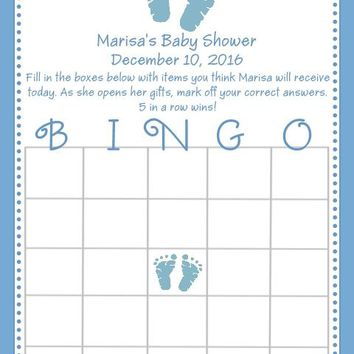 10 Blue Baby Feet Baby Shower Bingo Cards
