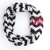 Black & White Chevron Monogram Infinity Scarf