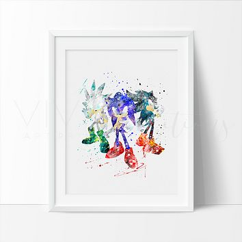 Sonic the Hedgehog 2 Watercolor Art Print