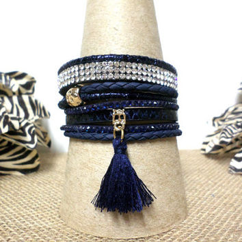 Elegant Navy Blue & Gold Animal Print Layered Leather and Rhinestone Thread Tassel Bracelet, Gold Magnetic Clasp Bracelet USA Seller. gift