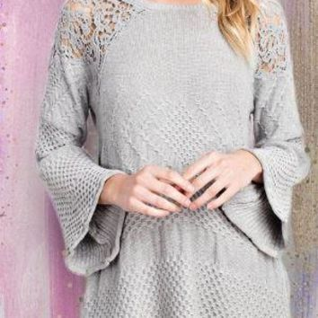 Bell Sleeve Lace Sweater
